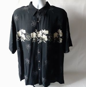 Pierre Cardin men's black Hawaiian button-down